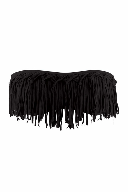 L*Space Dolly Knotted Fringe Bandeau Bikini Top in Black
