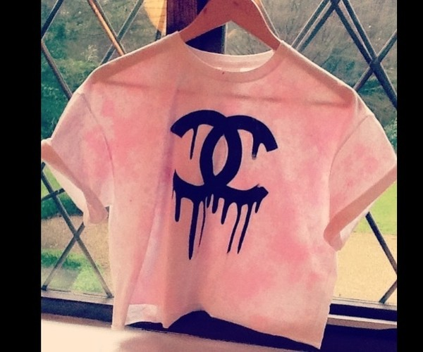 shirt pink chanel logo tank top top ombre