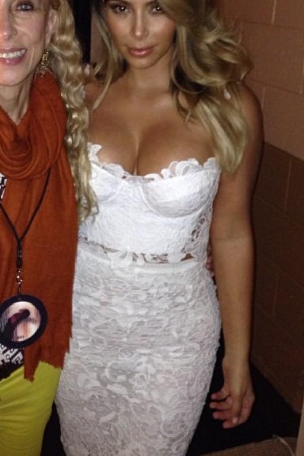 Dress: lace crop top, white lace skirt, kim kardashian - Wheretoget