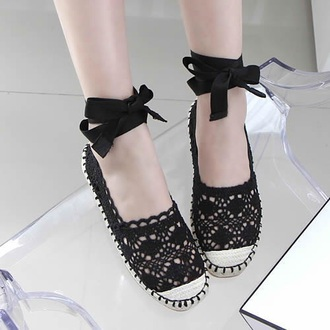 shoes black bow ribbon lace knit cute