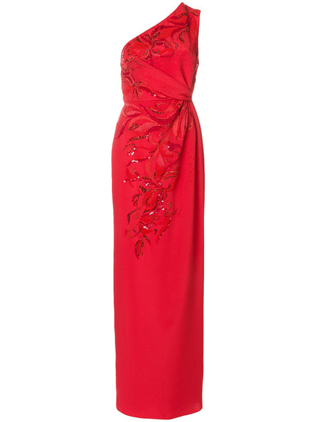 Emilio Pucci gown women embellished silk red dress