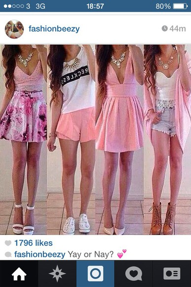 dress pink clothes top skirt flowers