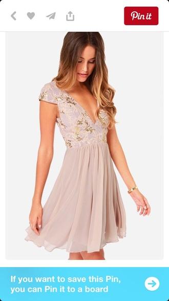 dress lilac skater v neck lace