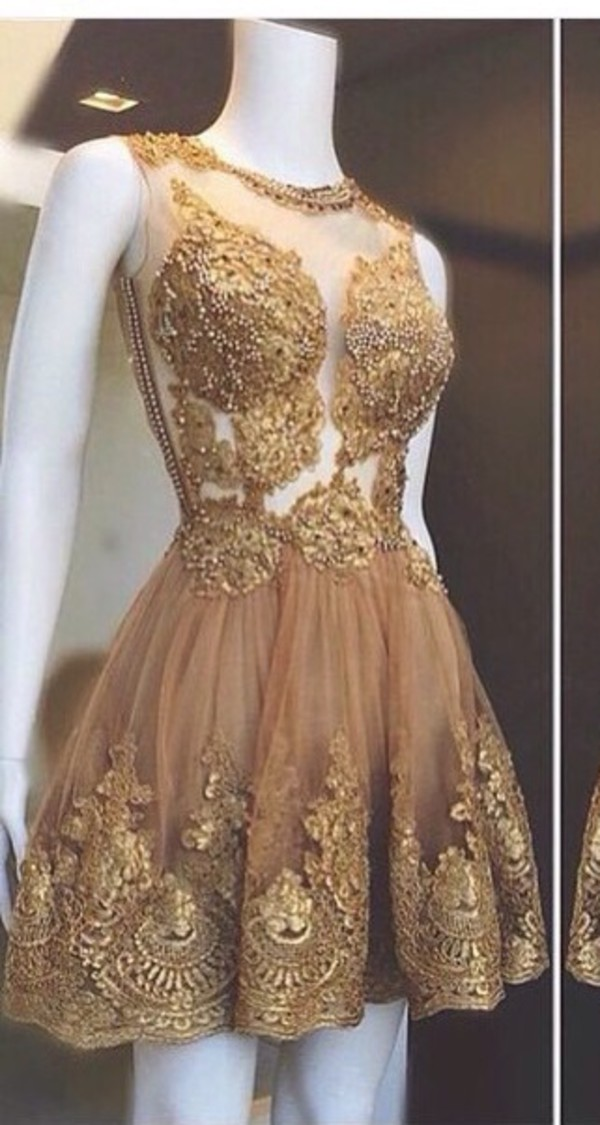 645a59837f Charming champagne Lace Short Prom Dresses