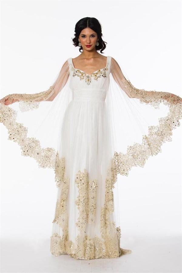 Arabic abaya kaftan muslim formal evening dresses for for White kaftan wedding dress