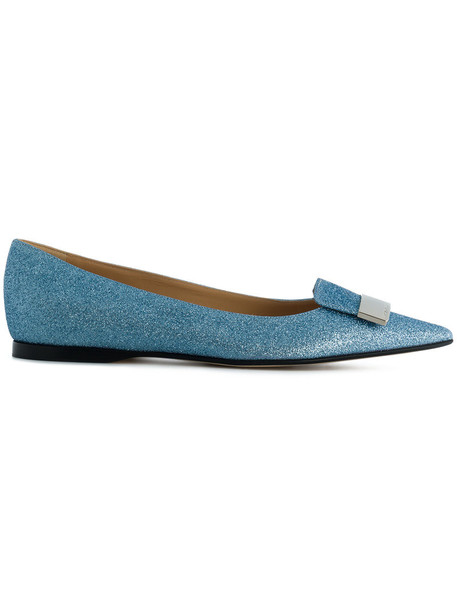 Sergio Rossi glitter women leather blue shoes