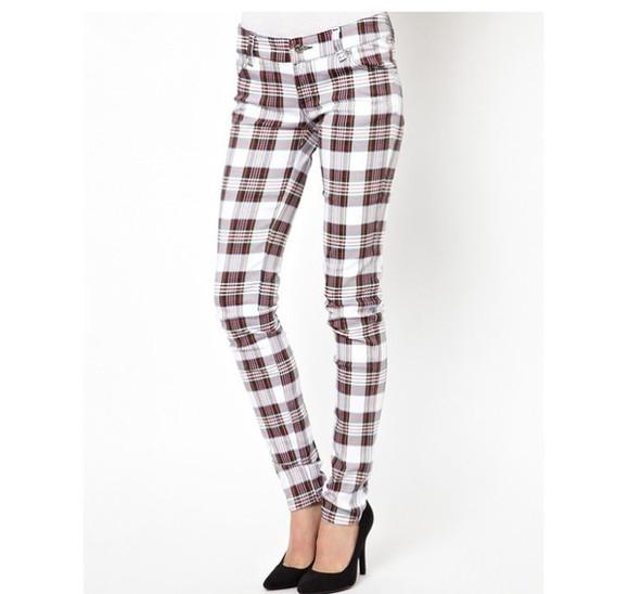 flannel tartan burberry jeans plaid pants tartan pants skinny pants skinny jeans