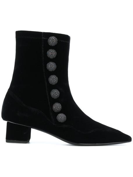 Rue St women leather black velvet shoes
