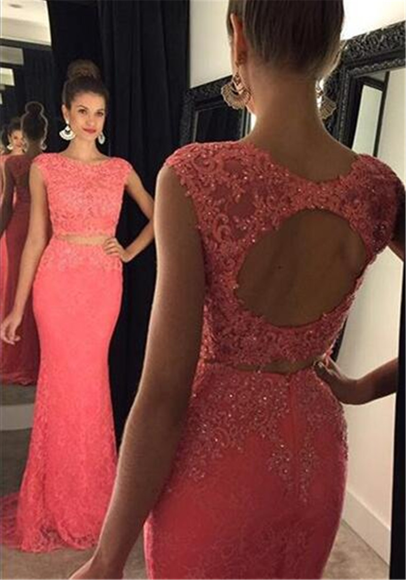 1d965e31be551 Aliexpress.com : Buy Free Shipping Two Pieces Red Lace Mermaid Prom Dresses  Elegant Appliques Lace Backless Beaded Long Formal Evening Prom Gowns from  ...