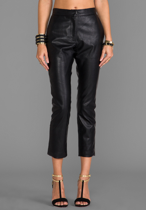 Monica Rose for LOVERS   FRIENDS Wilson Vegan Leather Trouser in Black at Revolve Clothing - Free Shipping!