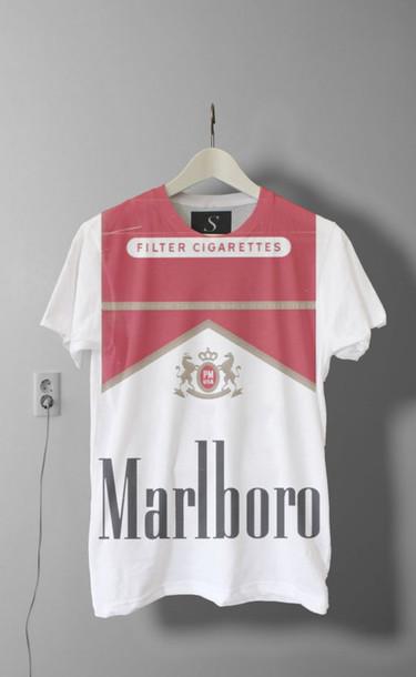 Shirt smoke marlboro white black red cigarette t for Black white red t shirt