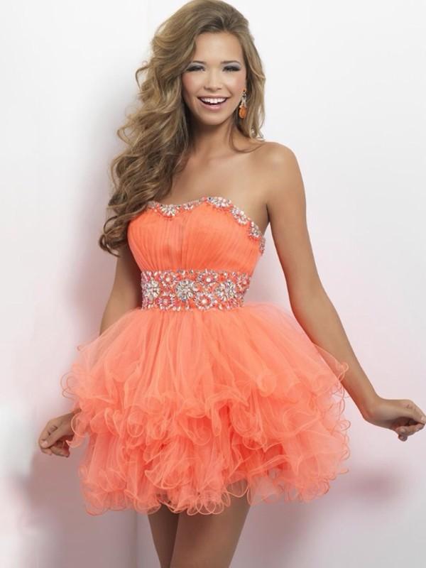 dress orange prom homecoming dress orange dress ruffle prom dress
