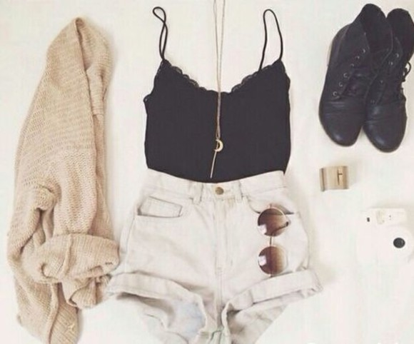 shoes combat boots white shorts black tank moon necklace cute outfit cardigan