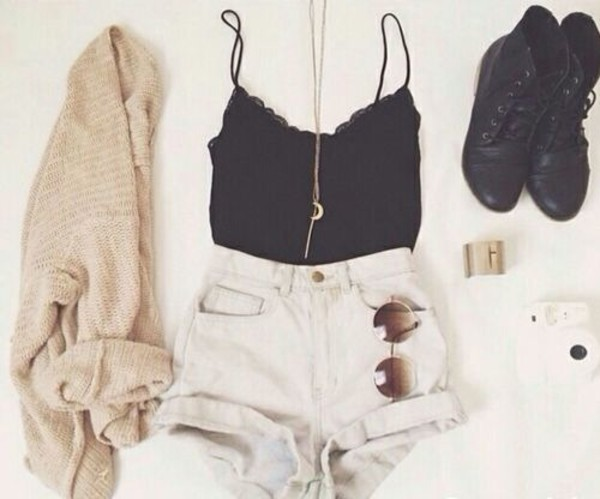 white shorts black tank top combat boots moon necklace cute outfits cardigan shoes