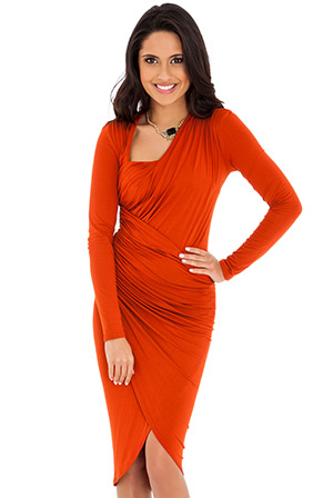 Kardashian Style Long Sleeve Ruched Jersey Midi Dress