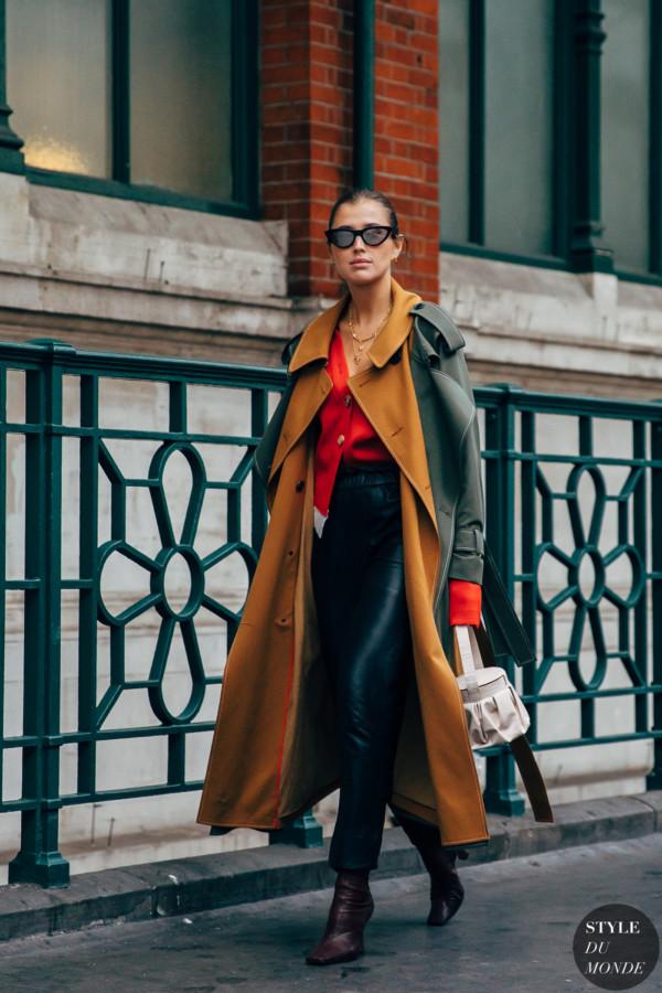 Khaki and brown trench coat - STYLE DU MONDE   Street Style Street Fashion Photos