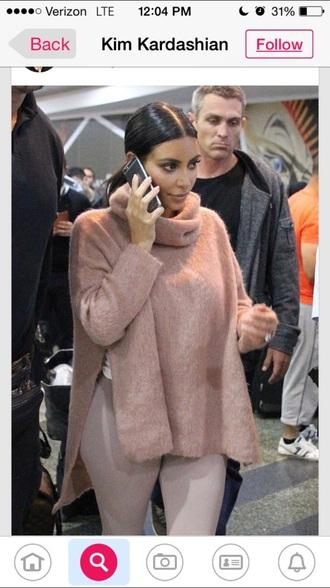 sweater kim kardashian nude color fur