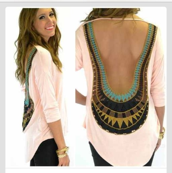 blouse shirt white open back pattern open back backless egyptian boho bohemian top