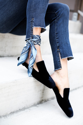 shoes,tumblr,velvet,velvet shoes,slide shoes,smoking slippers,scarf,lauren conrad,blogger,sweater,dress,loafers,black loafers,mules,silk scarf,denim,jeans,blue jeans