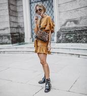 dress,mini dress,ruffle dress,boots,bag,animal print bag,round sunglasses