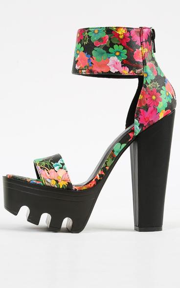 Destiny lug sole floral heels