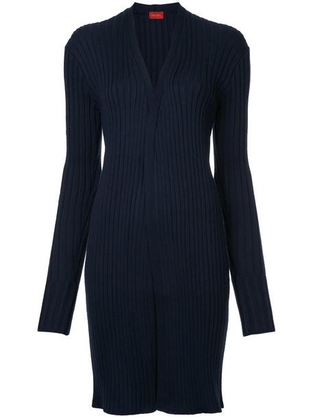 cardigan cardigan long women blue wool knit sweater