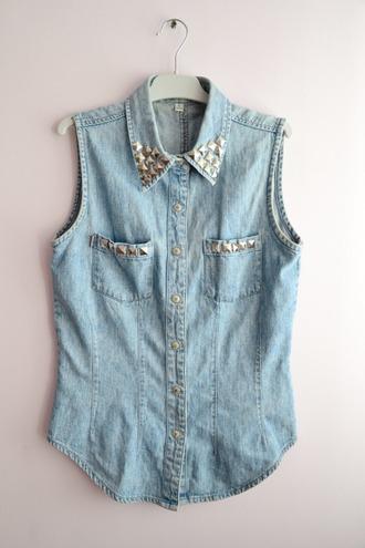 shirt denim studs collar vest sleeveless blouse