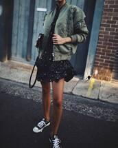 dress,tumblr,mini dress,printed dress,jacket,army green jacket,bomber jacket,green bomber jacket,khaki bomber jacket,sneakers,black sneakers,low top sneakers,converse,black converse
