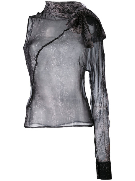 A.F.Vandevorst - patterned one sleeve blouse - women - Silk - M, Grey, Silk