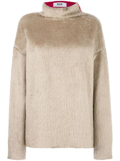 MSGM sweatshirt oversized back women white cotton sweater