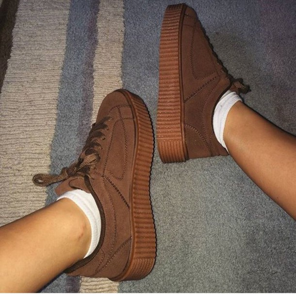 shoes brown platform shoes sneakers