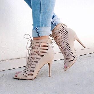 shoes heels nude heels high heels high heel date outfit brunch girl jeans denim booties bootie gojane