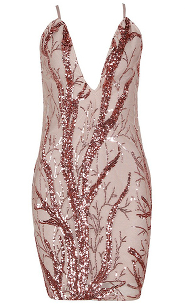 Sequin Plunge V Neck Dress Nude
