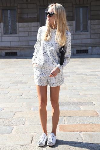 cheyenne meets chanel t-shirt shorts shoes bag sunglasses marble two-piece shirt tumblr black white pants