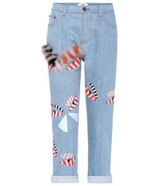 Fendi jeans cropped jeans cropped embellished blue