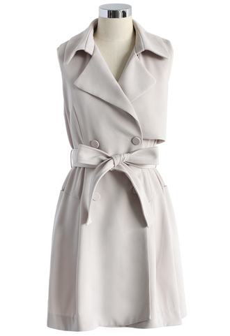 coat belted sleeveless trench coat in ivory belted sleeves trench coat chicwish