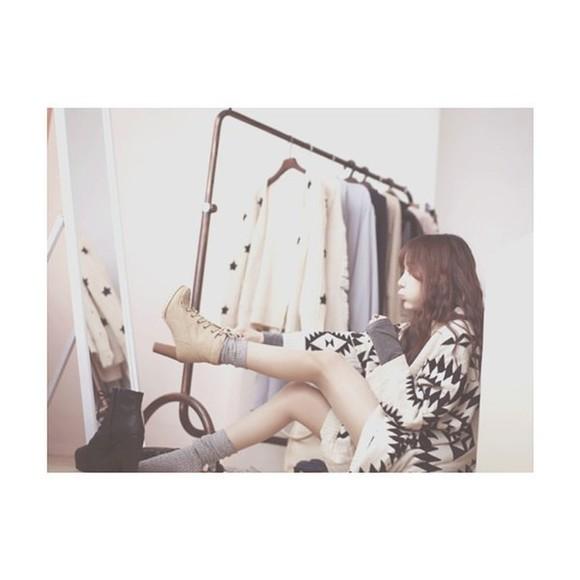aztec jacket cardigan black white coat aztec sweater knitted cardigan korean fashion kfashion japan