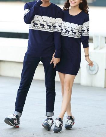 #173 couples deer long sweater