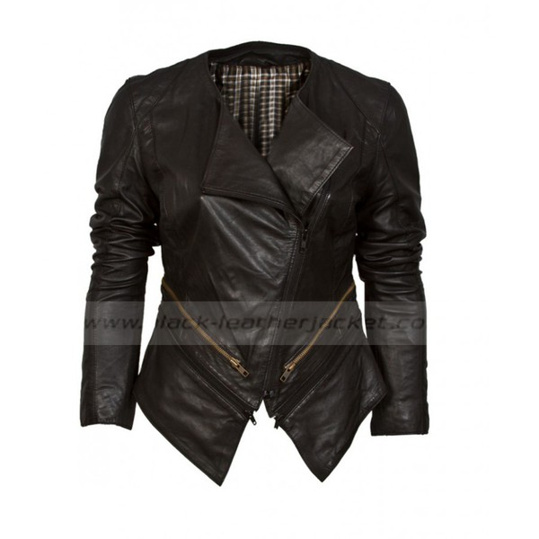 jacket black leather jacket black collarless leather jacket womens bike rider jacket asymmetric jacket collarless jacket womens jacket ladies fashion