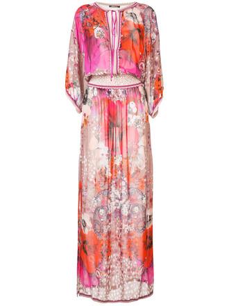 dress printed dress women floral silk purple pink