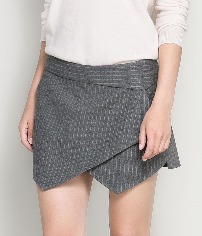 Grey Asymmetric Front Pinstrip Shorts - Sheinside.com