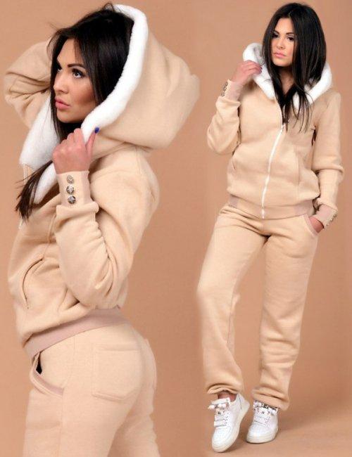 Lady's Gorgeous Warm Hooded Sheepskin Sweatshirt Sweatpants Set