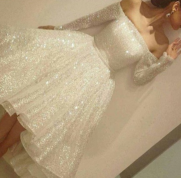 Dress sparkly dress silver dress homecoming dress for White sparkly wedding dress