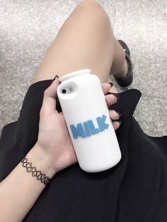 phone cover tumblr grunge iphone case milk white blue girl fancy original