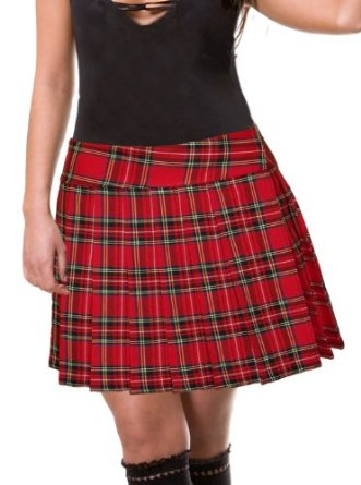 Amazon.com: Red Schoolgirl Tartan Plaid Pleated Skirt Stewart Junior Long: Clothing