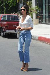 jeans,pumps,top,long sleeves,alessandra ambrosio,sunglasses,flare jeans,crop,Cropped Flared Jeans,kick flare,kick flare jeans,cropped bootcut jeans,cropped bootcut blue jeans