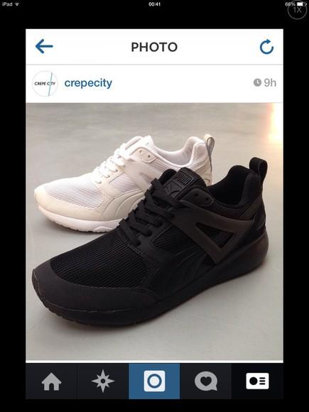 trainers puma shoes black white