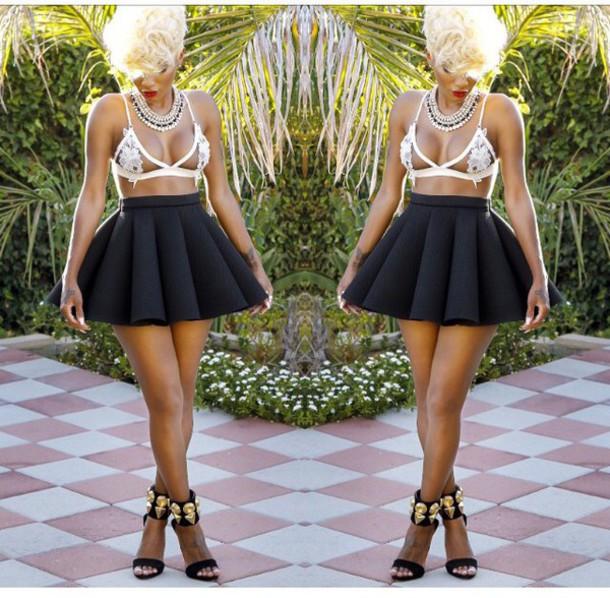 jai nice top all black bubbled skirt