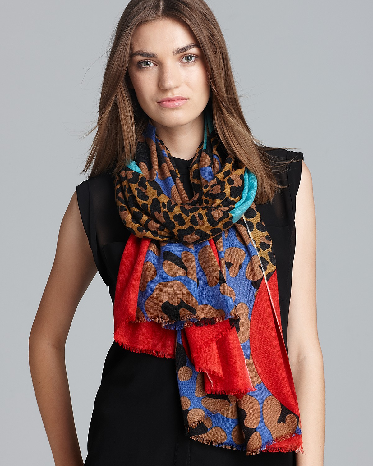 Yarnz Leopard Face Cashmere Scarf | Bloomingdale's