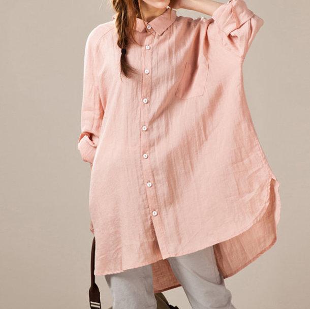 shirt linen pink shirt top